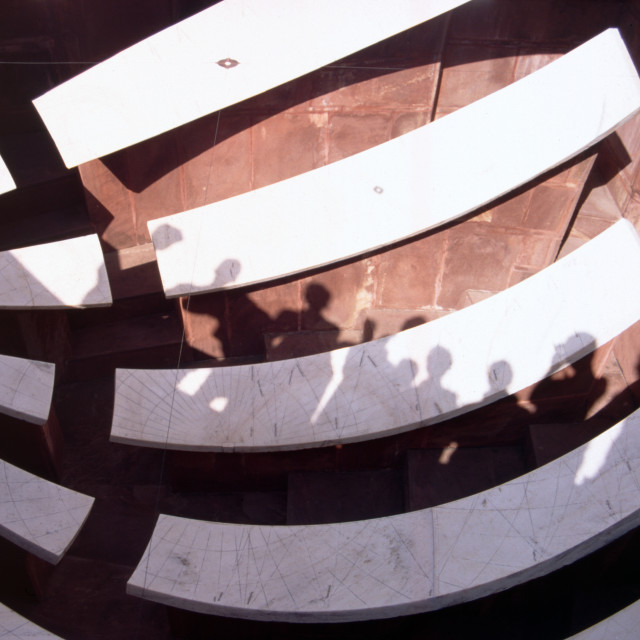 """Jaipur India Jantar Mantar Royal Observatory. Tourists shadows in a concave..."" stock image"