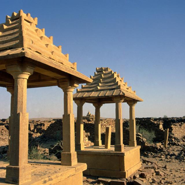 """""""Thar Desert Rajastan India. Deserted village."""" stock image"""