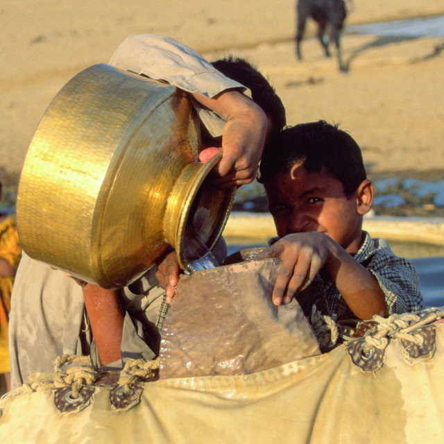 """THAR DESERT INDIA Village children fill water into a carrier from the local..."" stock image"