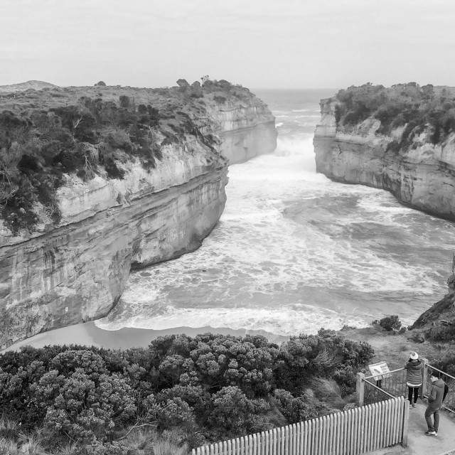 """Aerial view of Loch Ard Gorge rock formations, Australia"" stock image"