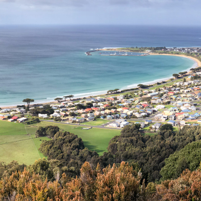 """""""Apollo Bay panoramic view of coastline from Marriners Lookout, Victoria,..."""" stock image"""