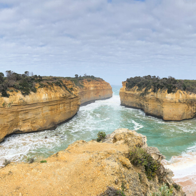 """Panoramic view of Loch Ard Gorge coastline and rock formations along the..."" stock image"