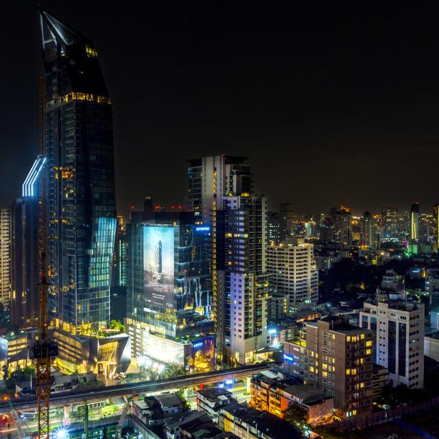 """""""Downtown Bangkok at Night"""" stock image"""