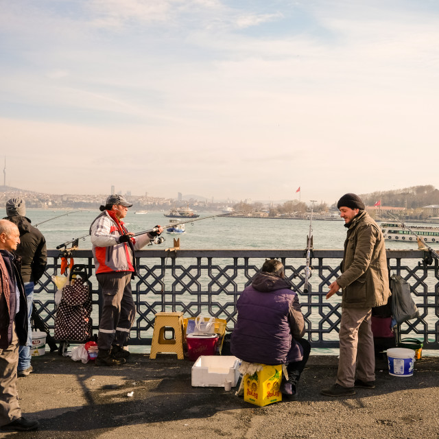 """Galata bridge fishermen"" stock image"