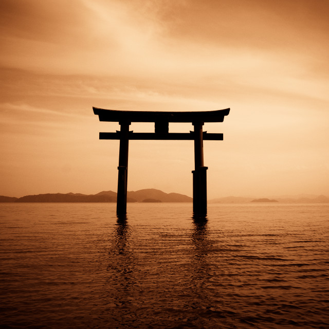 """Lake Biwa Torii gate"" stock image"