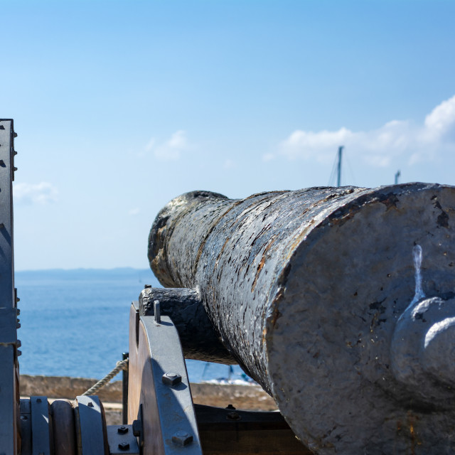"""""""Medieval cannon in the old fortress of Corfu town at Greece"""" stock image"""