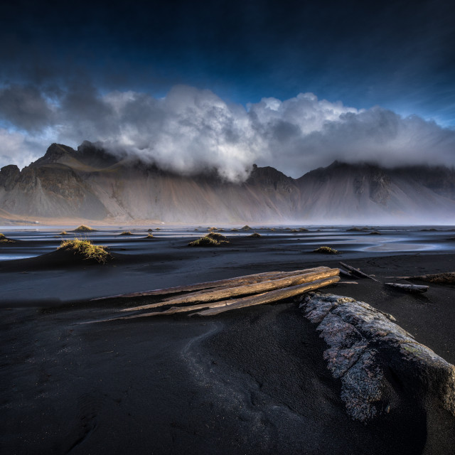 """Dawn Clouds Over Vestrahorn"" stock image"