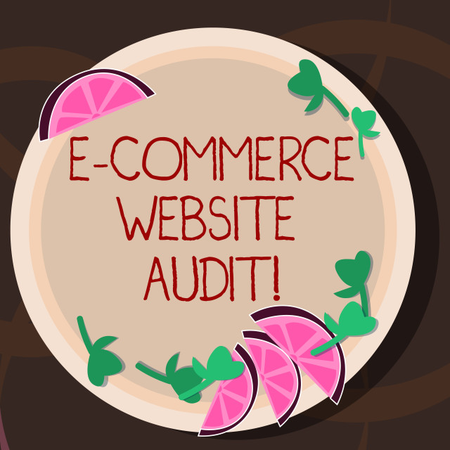 """""""Conceptual hand writing showing E Commerce Website Audit. Business photo..."""" stock image"""