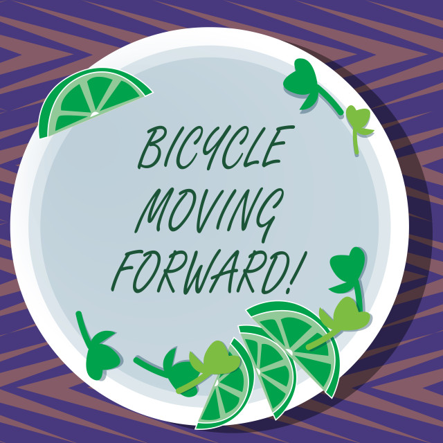 """""""Word writing text Bicycle Moving Forward. Business concept for To keep your..."""" stock image"""