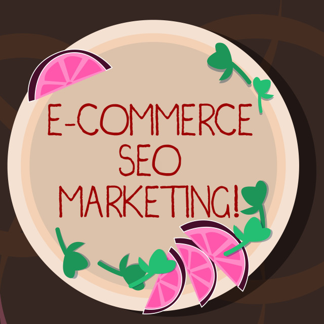 """""""Conceptual hand writing showing E Commerce Seo Marketing. Business photo..."""" stock image"""