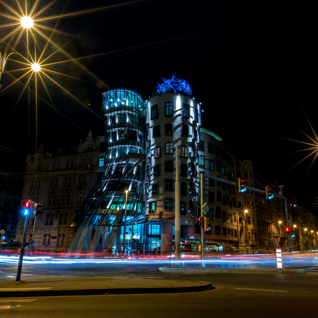 """Dancing House in Prague, night long exposure"" stock image"