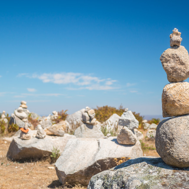 """""""Pile of stones at the Monte Foia in Monchique, Portugal"""" stock image"""