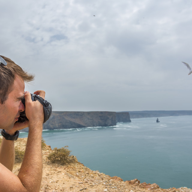 """""""Young adult taking picture of seagull"""" stock image"""