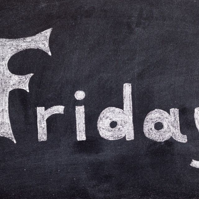 """Friday handwritten on blackboard"" stock image"