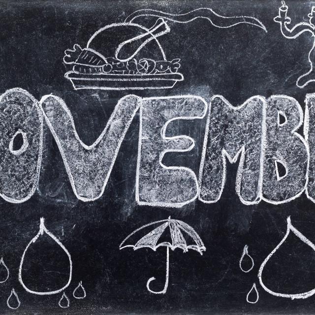 """November handwritten on Blackboard"" stock image"