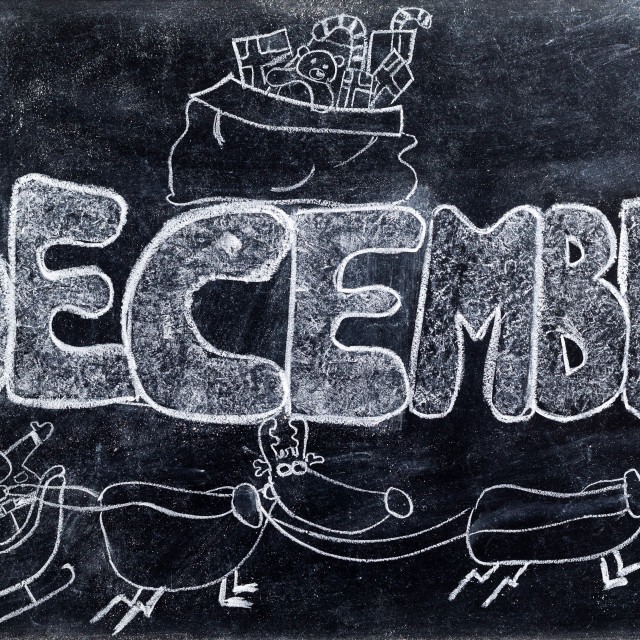 """December handwritten on Blackboard"" stock image"