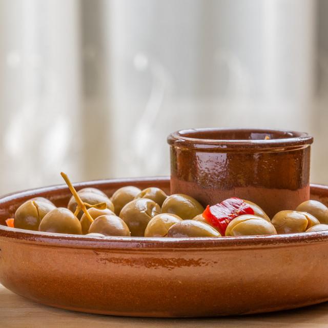 """Marinated green olives"" stock image"