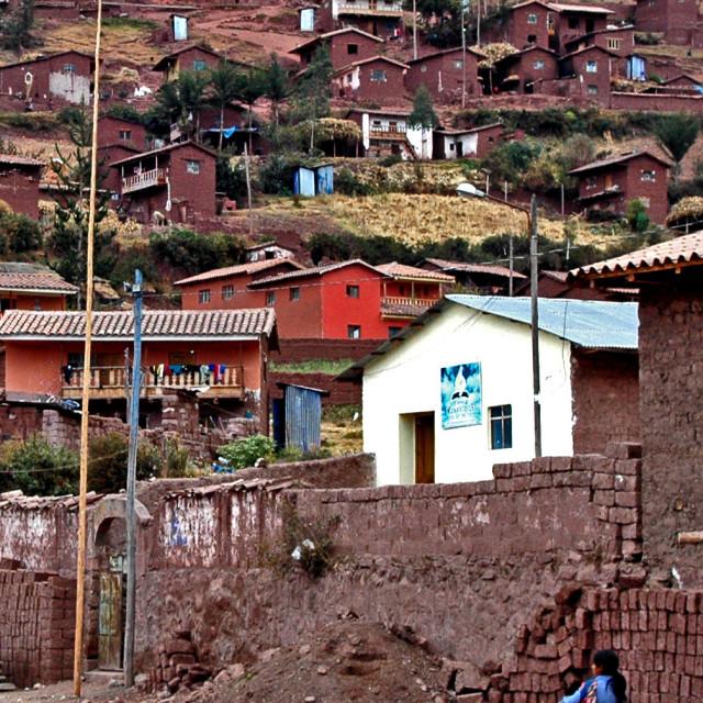 """""""Village of Ccaccaccollo, Peru."""" stock image"""
