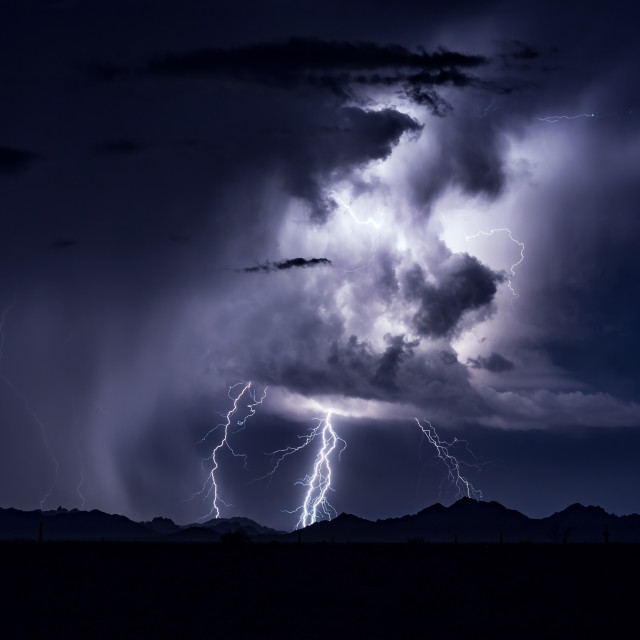 """""""Lightning illuminated thunderstorm"""" stock image"""