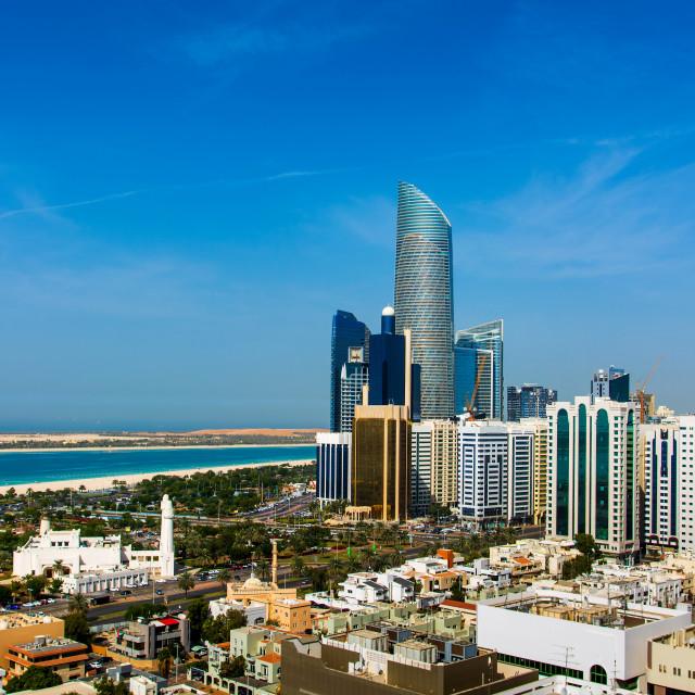 """Abu Dhabi city landmark view of modern buildings"" stock image"