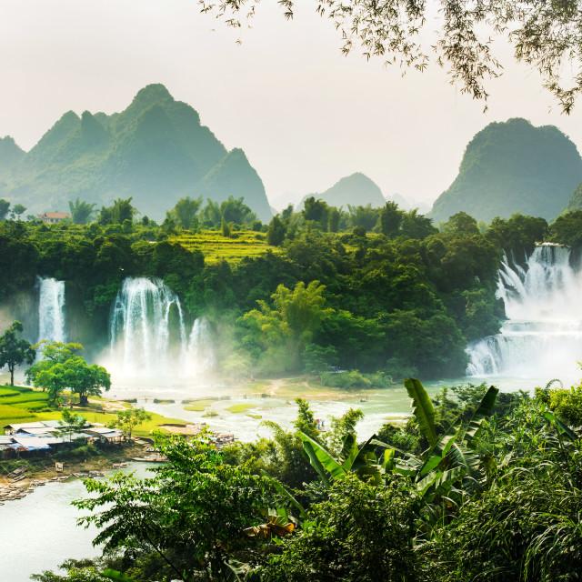 """Ban Gioc Detian waterfall on China and Vietnam border"" stock image"