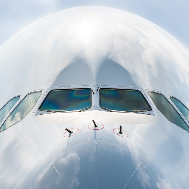 """passenger jet nose close-up"" stock image"