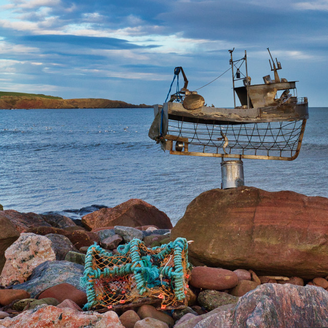 """Stonehaven Fishing Boat Sculpture"" stock image"