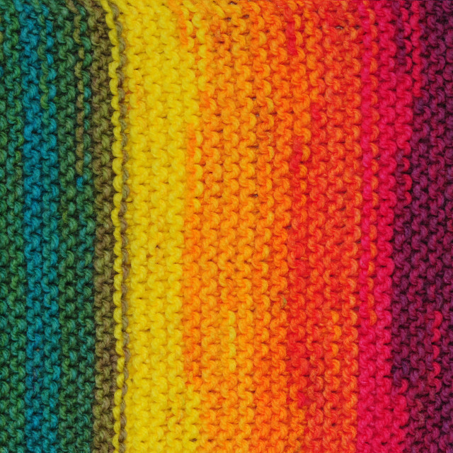 """Handmade rainbow colored seamless knitted patterns texture"" stock image"