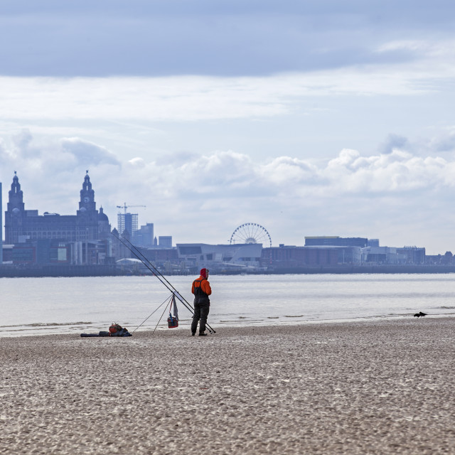"""""""Fishing the Liverpool Waterfront"""" stock image"""