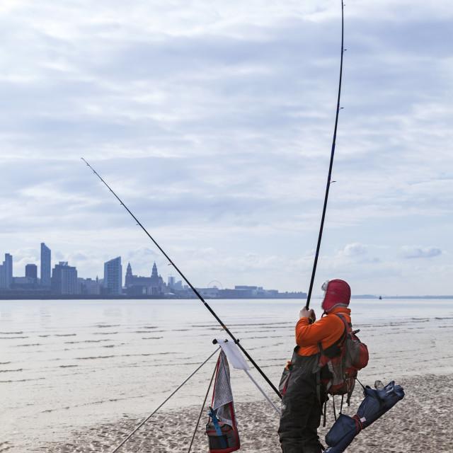 """Fisherman on The Mersey"" stock image"