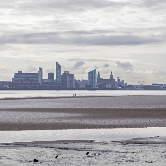 """""""A view of Liverpool from New Brighton"""" stock image"""