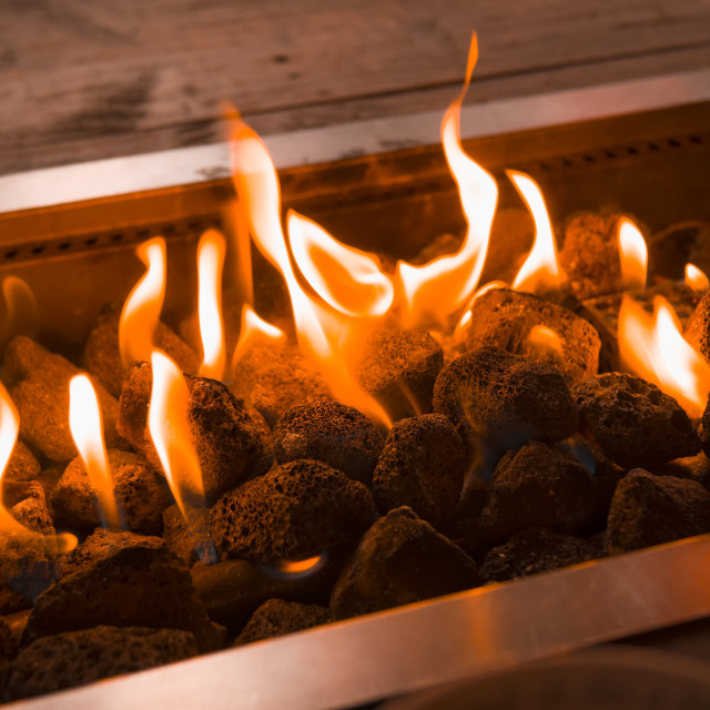 """""""Gas Powered Fire Pit"""" stock image"""