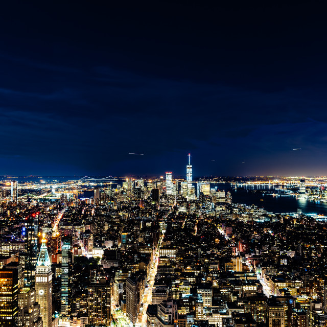 """High angle view of the skyline of Manhattan at night"" stock image"