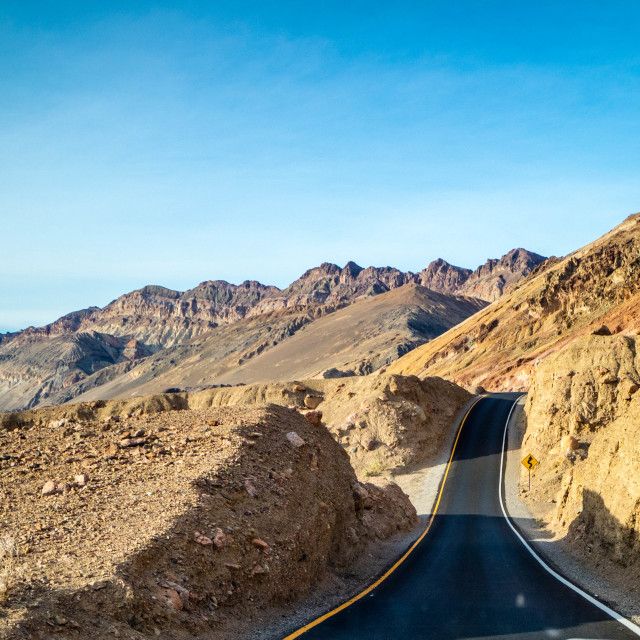 """A long way down the road of Death Valley National Park"" stock image"