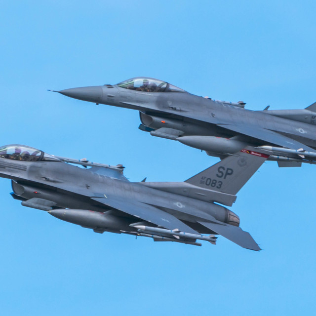"""""""USAF F-16 Fighting Falcons"""" stock image"""