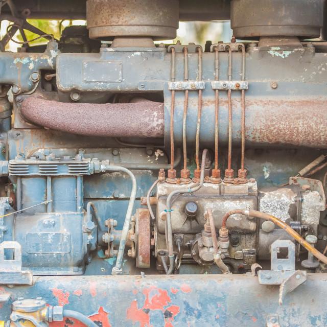 """""""vintage diesel truck engine"""" stock image"""