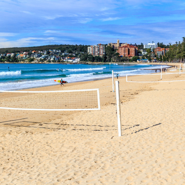 """""""Volleyball nets on Manly beach"""" stock image"""