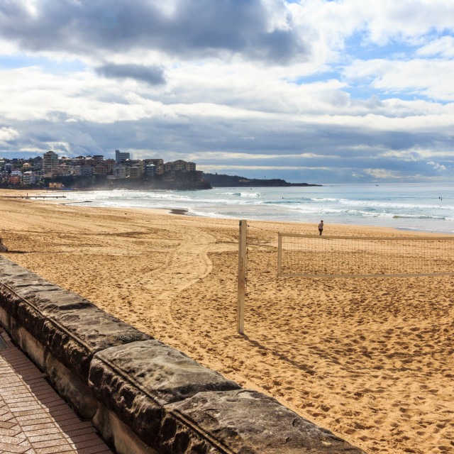 """""""Volleyball net on Manly beach"""" stock image"""