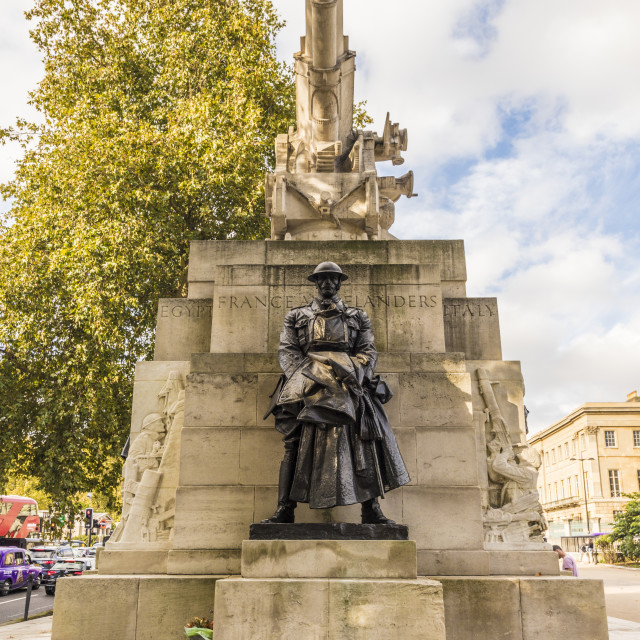 """A bronze statue of the artillery captain on the Royal Artillery Memorial, on..."" stock image"