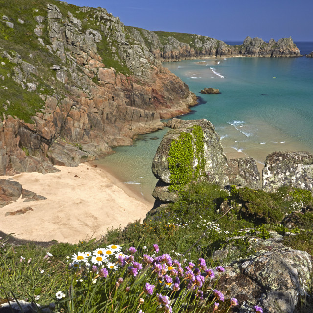 """Pednvounder Beach and Treen Cliffs at Porthcurno, Cornwall, England, U.K."" stock image"