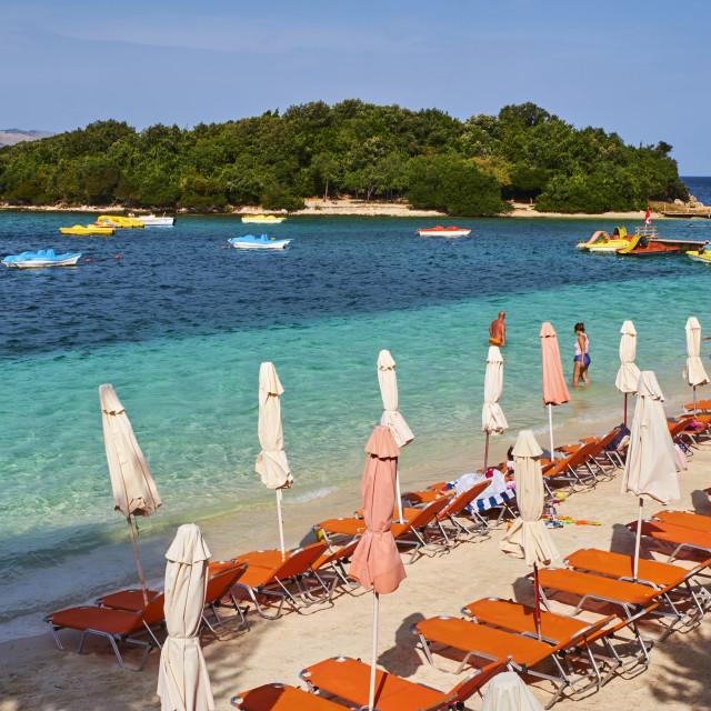 """Albania, Vlore province, Ksamil beach"" stock image"