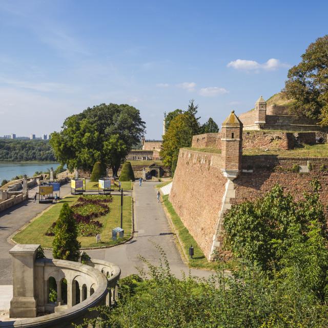 """Serbia, Belgrade, Belgrade Fortress, Great Kalemegdan staircase leading to..."" stock image"