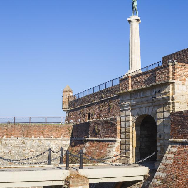 """Serbia, Belgrade, Kalemegdan Park, Victor Monument at Belgrade Fortress"" stock image"