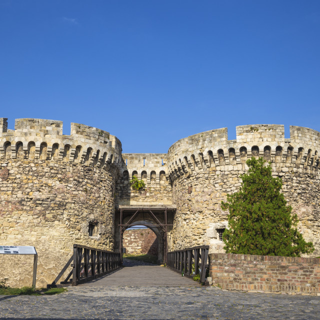 """Serbia, Belgrade, Kalemegdan Park, Belgrade Fortress, Zinden gate and towers"" stock image"