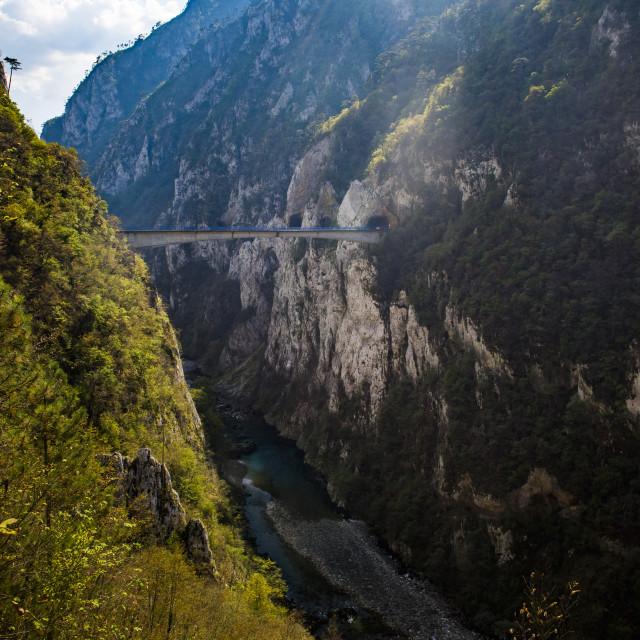 """Bridge in Tara River Canyon Gorge, Durmitor National Park, Montenegro, UNESCO..."" stock image"