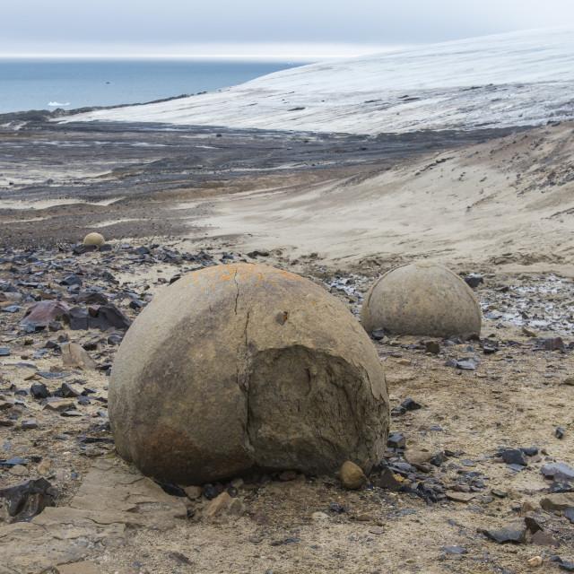 """Giant stone sphere, Champ Island, Franz Josef Land archipelago, Russia"" stock image"