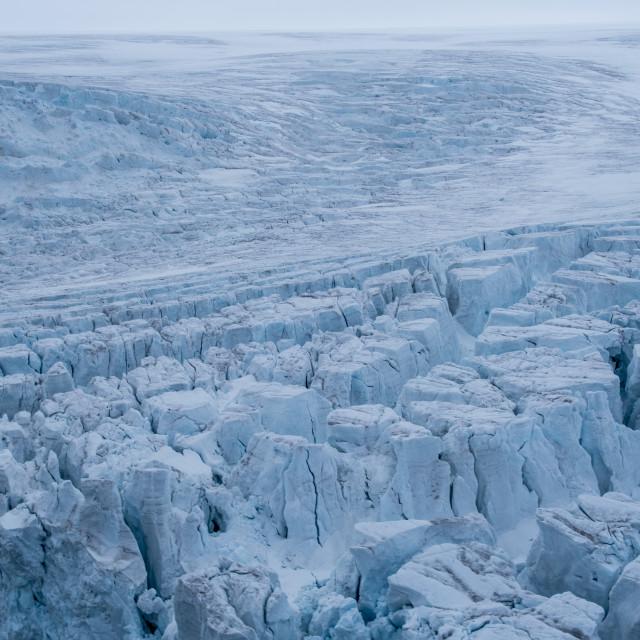 """Aerial of the massive glacier of Alexandra land, Franz Josef Land..."" stock image"
