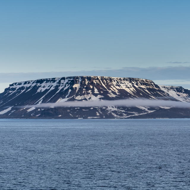 """""""Flat table mountains covered with ice, Franz Josef Land archipelago, Russia"""" stock image"""