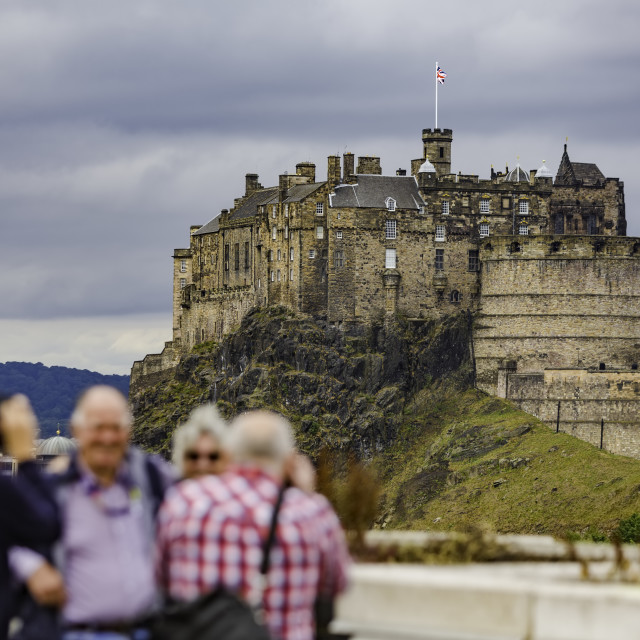 """""""Tourists Pose in Front of Edinburgh Castle"""" stock image"""