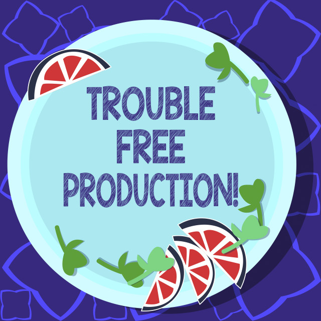 """""""Handwriting text writing Trouble Free Production. Concept meaning Without..."""" stock image"""